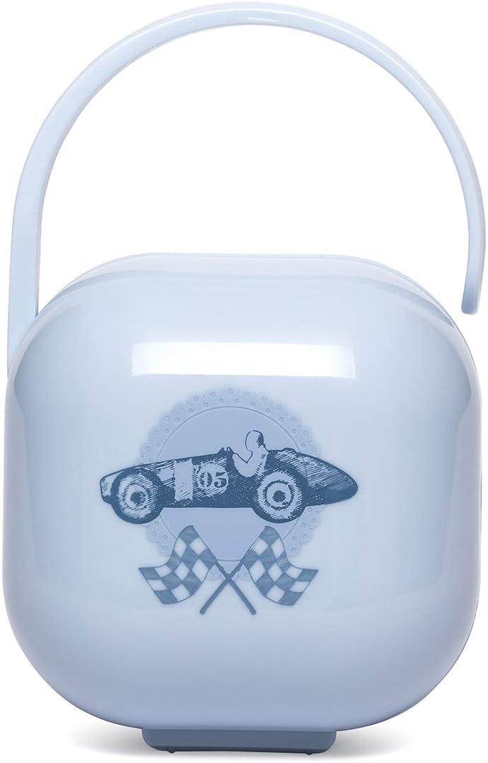 Suavinex 302268 - Portachupete para Bebé. para Llevar 2 Chupetes, Caja Portachupetes Portátil, Funda para Chupetes, Diseño Vintage, Color Azul