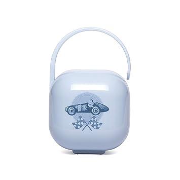 Suavinex - Portachupete Papa bebé. para llevar 2 chupetes. Caja Portachupetes portátil. Funda para chupetes. diseño vintage, color Azul