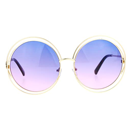 e56636f1b7 SA106 Oceanic Color Lens Large Round Circle Double Wire Rim Sunglasses Blue  Pink