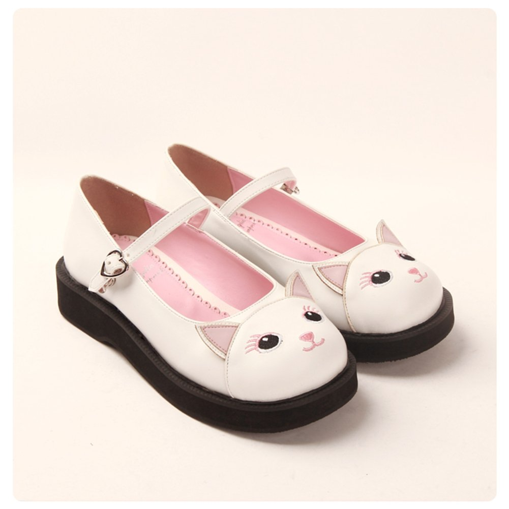 Angelic imprint Japanese Sweet Lolita Shoes Kawaii Kitty Round Toe Mary Jane Flat Shoes for Girls