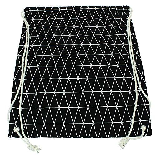 Moderno de yute Bolsa con Negro Diseño Geométrico con cordones de práctica bolsa de tela de Turn Mochila Gym de bolsa de deporte bolsa hipster Fashion ajustable bordados