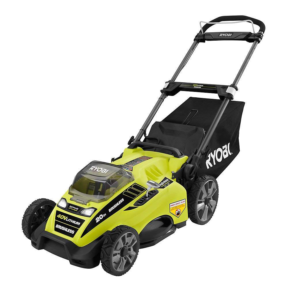 Ryobi RY40180 40V Brushless Lithium-Ion Cordless Electric Mower Kit, with 5.0Ah Battery, 19.88'' x 40.748'' x 22.677''