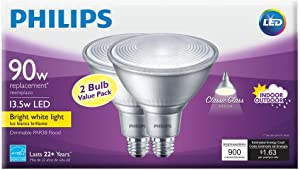 Philips 90W Equivalent Bright White (3000K) PAR38 Dimmable Classic Glass LED Energy Star Flood Light Bulb (2-Pack)