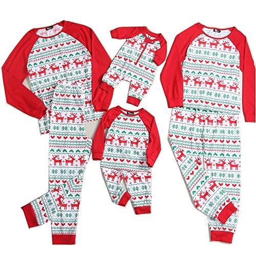 PopReal Reindeer Print Family Matching Clothes Long Sleeve and Pants Christmas Pajamas Set,Red,0 - 3 Months -