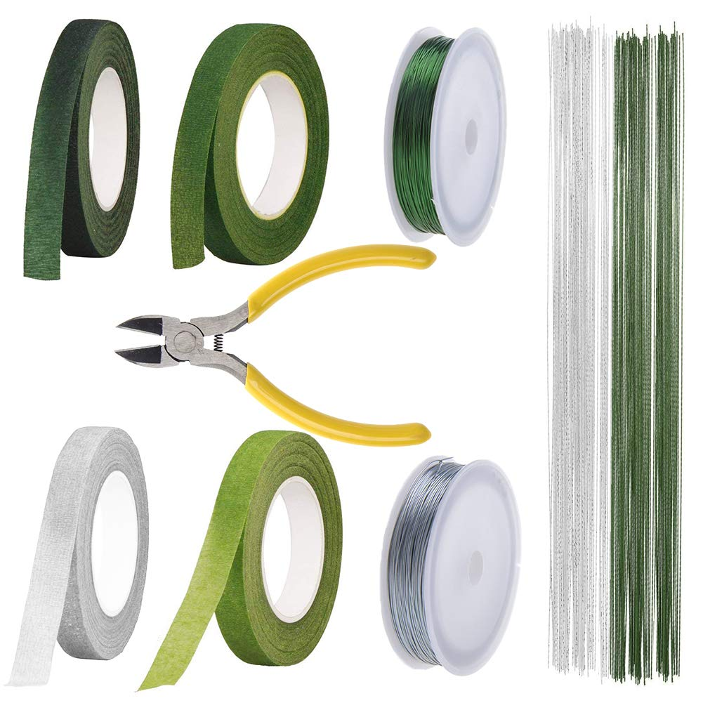 Floral Stem Arrangement Tools Kit with Wire Cutter, 200PCS #26 Gauge Stem Wire (Green & Silver) and 22 Gauge Paddle Wire and Floral Tapes for Bouquet Stem Wrap Florist by LAMPTOP