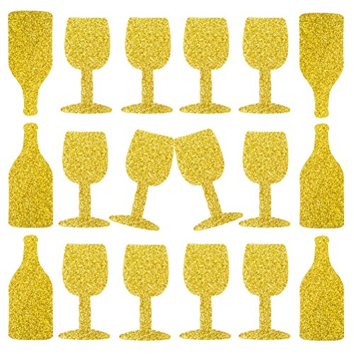 MOWO Champagne Bottle Glass Confetti Table Decoration and Wedding Party Supplies (Gold Glitter,100pc) -