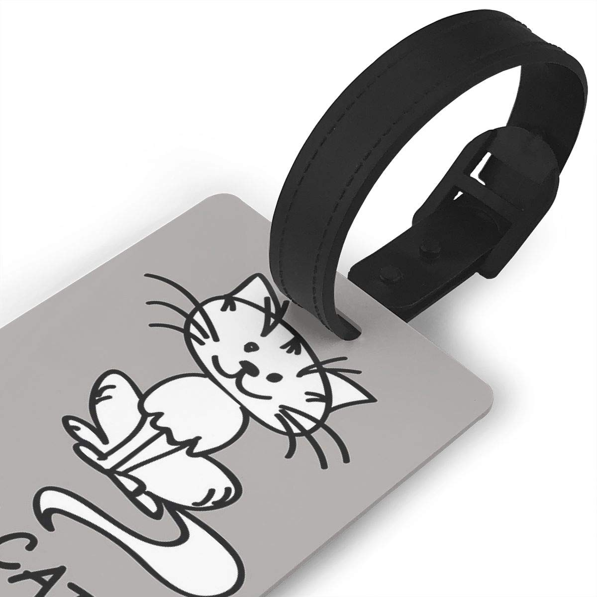 Set of 2 Crazy Cat Man Luggage Tags Suitcase Labels Bag Travel Accessories