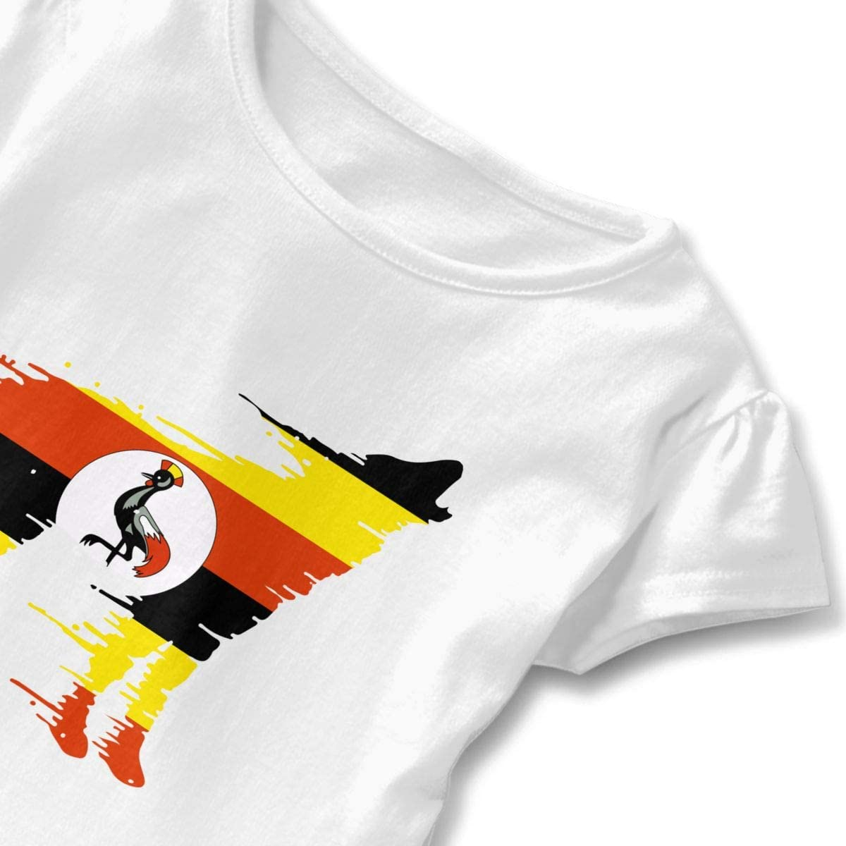 Uganda Flag Wolf Toddler Girls Short Sleeve Graphic Shirts