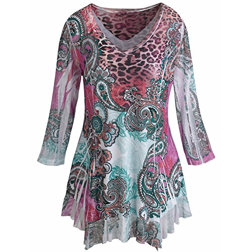 Women's Tunic Top - Pink Paisley Leopard Print 3/4 Sleeve Blouse - 1X