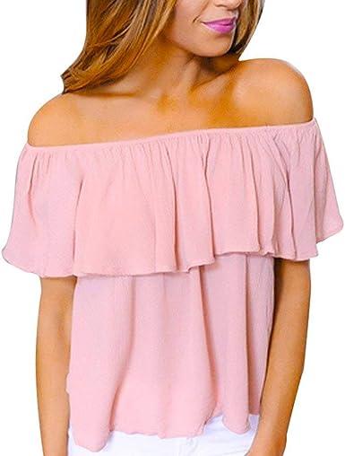 Camisas Mujer Verano Elegantes Moda Blusas Sin Tirantes Barco ...
