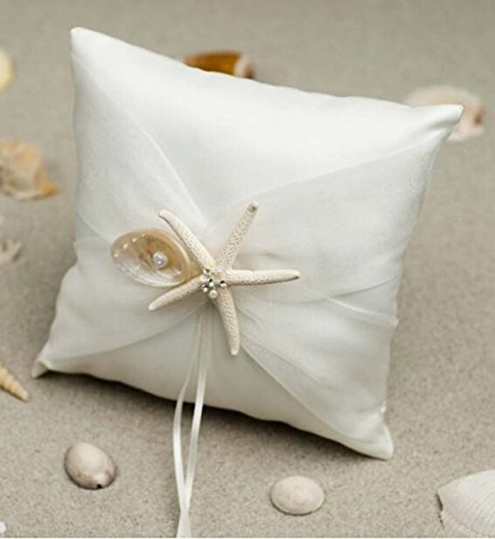 AllHeartDesires Ivory Starfish Satin Ring Pillow Bearer Beach Themed Wedding Party Decoration