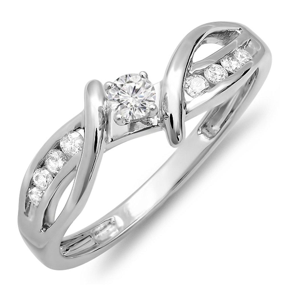 0.26 Carat (ctw) 10K White Gold Round Diamond Bridal Promise Engagement Ring 1/4 CT (Size 7)