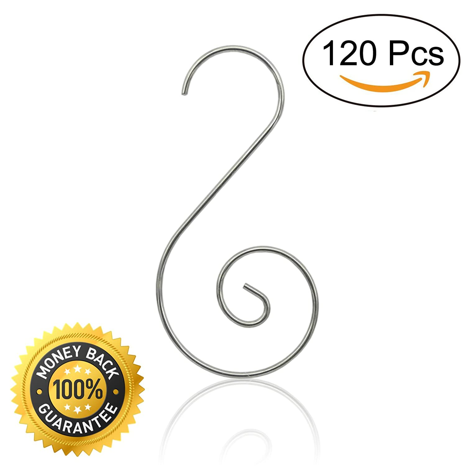 120 Pcs Christmas Ornaments Hooks Christmas Tree Hanger Great for Christmas Tree Decoration - Silver Elicci
