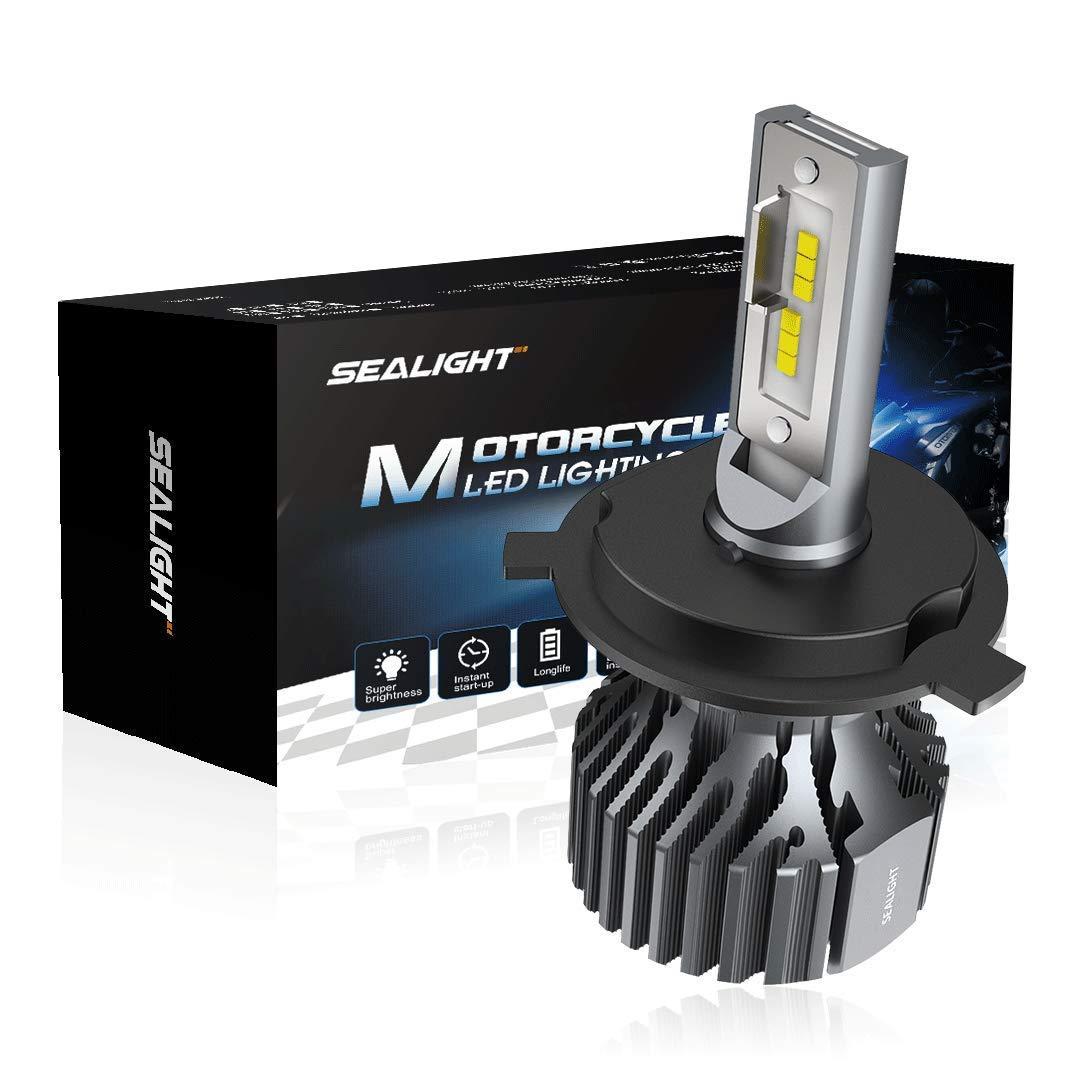 SEALIGHT H4 9003 LED Motorcycle Headlight bulb Hi/Lo Beam Conversion Kit Headlamp - 6000LM White 6000K