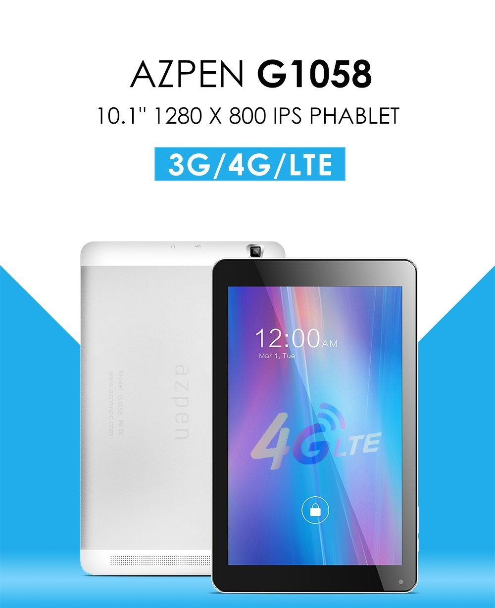 Azpen G1058 10'' 4G LTE Quad Core Android Unlocked Phone Tablet with Bluetooth GPS Dual Cameras