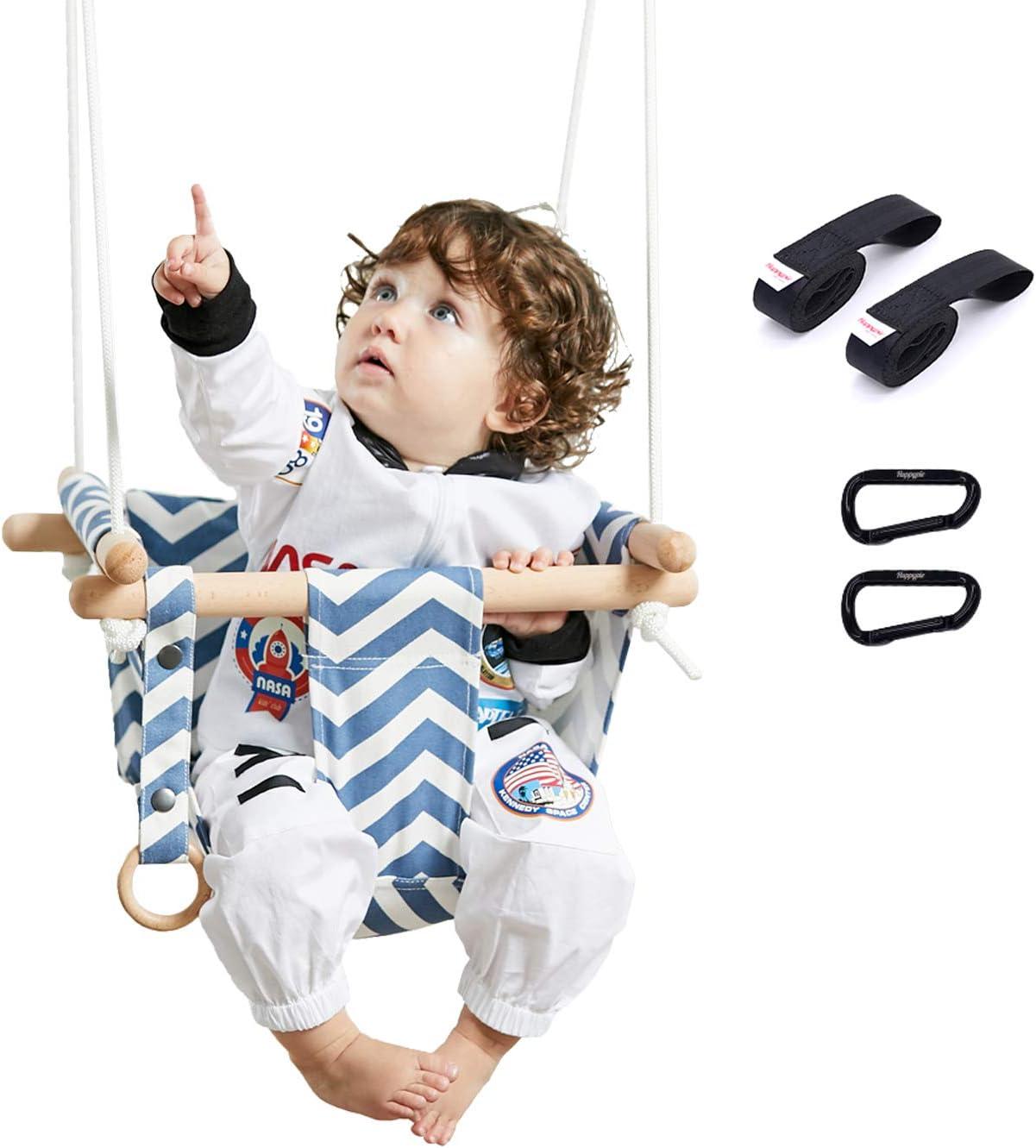 Happypie seguro colgante de lona columpio asiento interior hamaca al aire libre de juguete para el niño (raya)