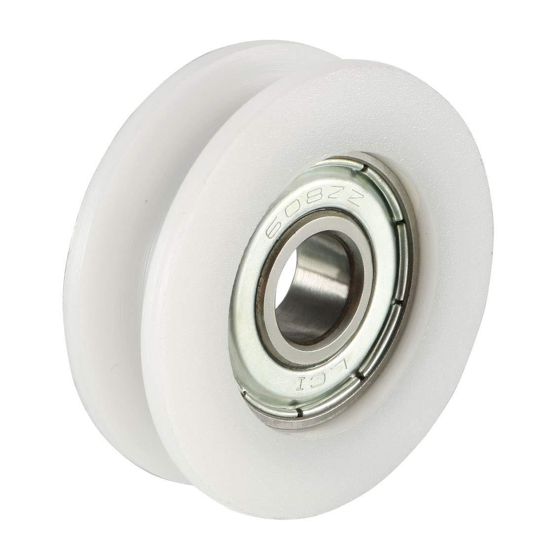 uxcell 2pcs 4.7mm Deep Metal V Groove Guide Bearing Pulley Rail Ball Wheel 8x50x12mm