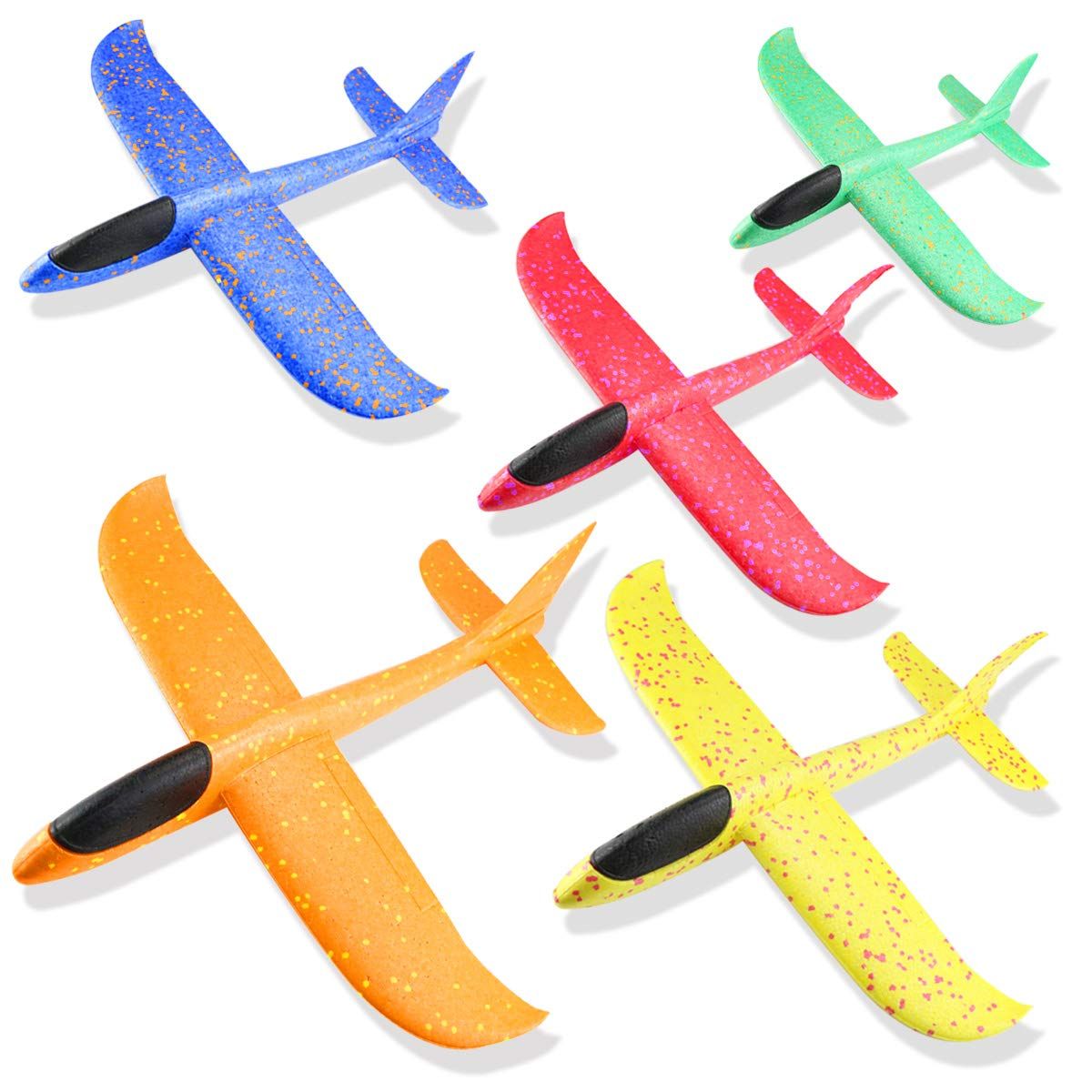 Weoxpr 5 Pack 18.3inch Multicolor Airplane Toy, Jumbo Manual Throwing Foam Plane, Large Glider Planes, Fun Airplane Model, Flying Aircraft for Outdoor Sport Game, Birthday Party Favors, Carnival Prize by Weoxpr