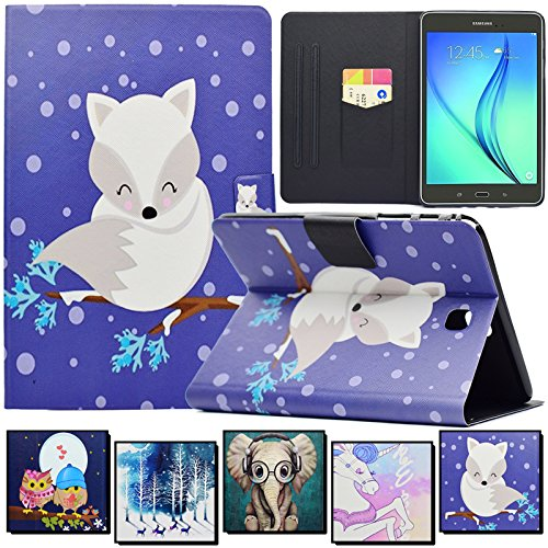 Galaxy Tab A 8.0 Case,Artyond PU Leather Card Slots Cover [Anti-Slip Stripe] with Smart Magnetic Snap Soft TPU Protective Case Stripe Stand Cover for Samsung Galaxy Tab A 8.0 SM-T350(2015)(Fox)