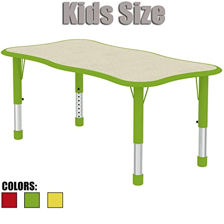 2xhome   Green   Kids Table   Height Adjustable Wavy Rectangle Shape Child  Laminate Top Activity