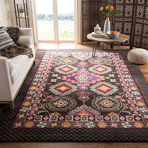Safavieh Monaco Collection MNC240B Modern Bohemian Geometric Brown and Multi Distressed Area Rug (3' x 5') (Safavieh Durable Hard Surface And Carpet Rug Pad)