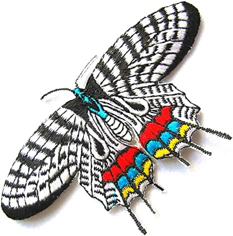 3+1//4 x 2 inch Embroidered Iron-On Applique Butterfly