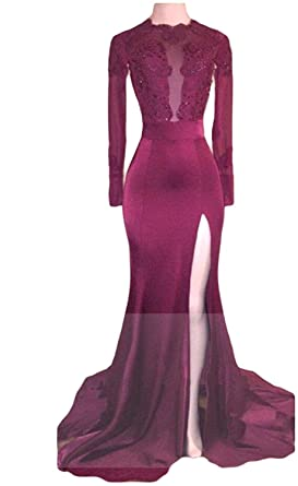 Womens Mermaid Lace Appliques Prom Dresses Split Long Sleeves Evening Gowns Size 2 Burgundy