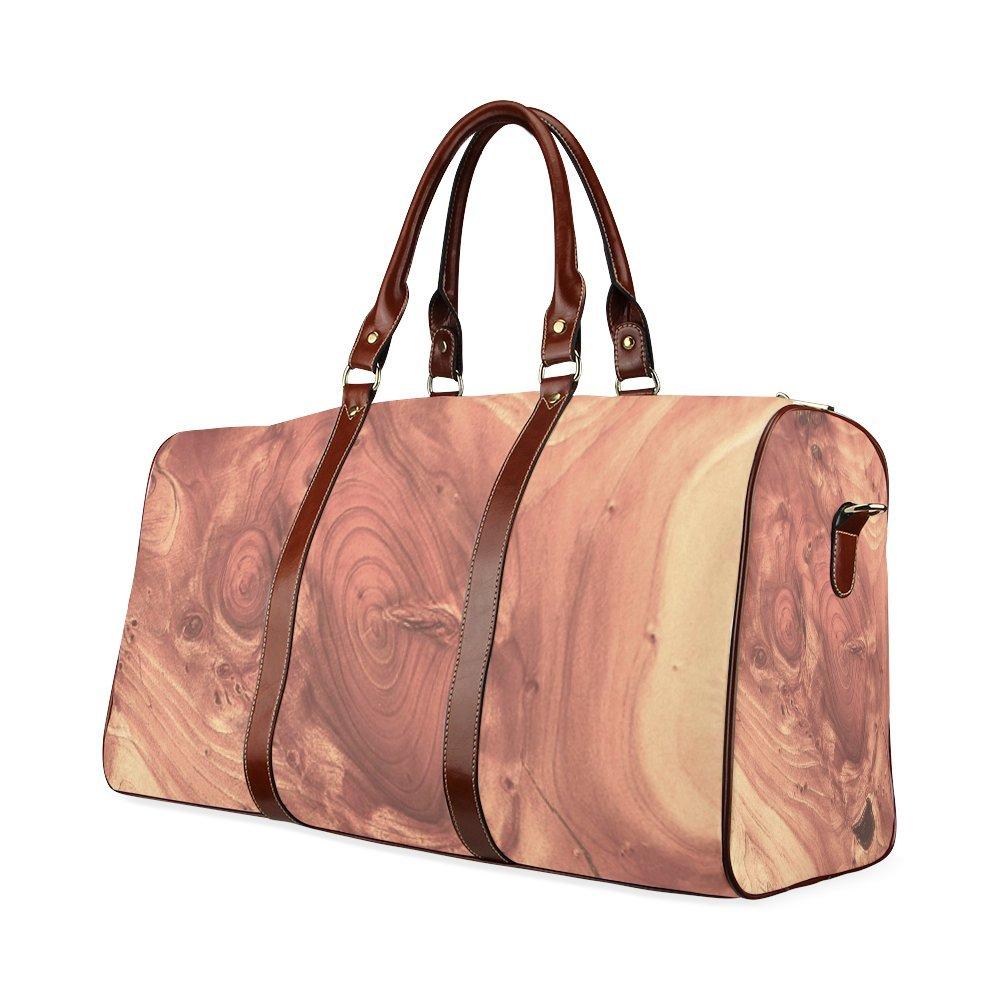 Fantastic Wood Grain,Brown Custom Waterproof Travel Tote Bag Duffel Bag Crossbody Luggage handbag