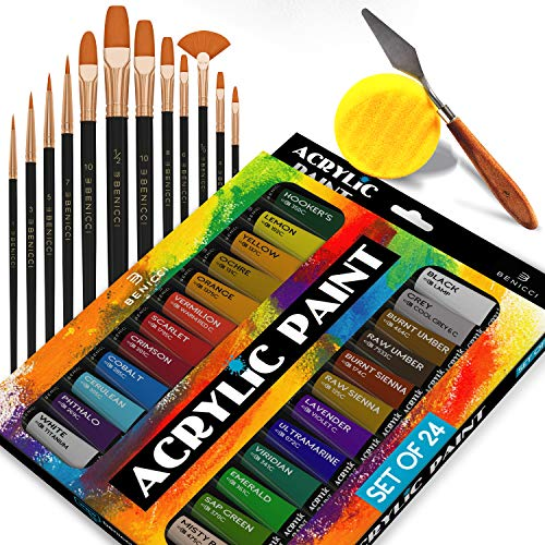 (Complete Acrylic Paint Set - 24х Rich Pigment Colors - 12x Art Brushes with Bonus Paint Art Knife & Sponge - for Painting Canvas, Clay, Ceramic & Crafts, Non-Toxic & Quick Dry - for Kids & Adults)