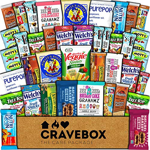 CraveBox Healthy Care Package (40 Count) Natural Bars Nuts Fruit Health Nutritious Snacks Variety Gift Box Pack Assortment Basket Bundle Mix Sample College Student Office Fall Final Exams Christmas