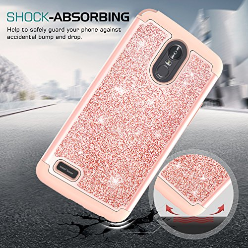 LG Stylo 3 Case,LG Stylo 3 Plus / Stylus 3 Glitter Case,LeYi Hybrid Heavy  Duty Protection [PC Silicone Leather + HD Screen Protector] Cute Girls  Women