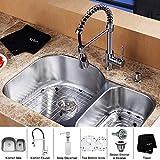 Kraus KBU23-KPF1612-KSD30CH 32 inch Undermount Double Bowl Stainless Steel Kitchen Sink with Chrome Kitchen Faucet...