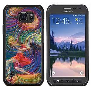 EJOOY---Cubierta de la caja de protección para la piel dura ** Samsung Galaxy S6Active Active G890A ** --Luna Planetas Mujer Estrellas