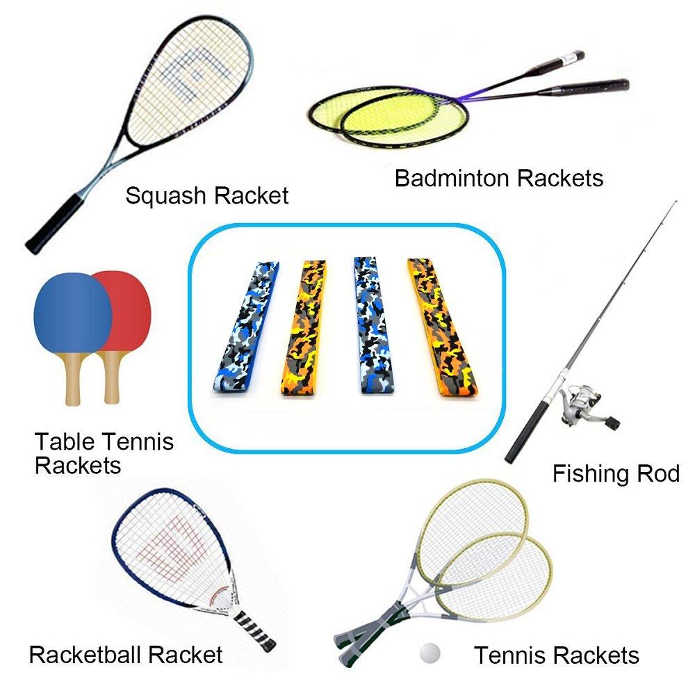 4 PCS Tennis Racket Grip Roll, Absorb Moisture and Anti-slip Overgrip Grips Tape for Squash, Tennis, Badminton, Rackets , Bat Fishing Rod , Softball and Tee Ball Af-Wan