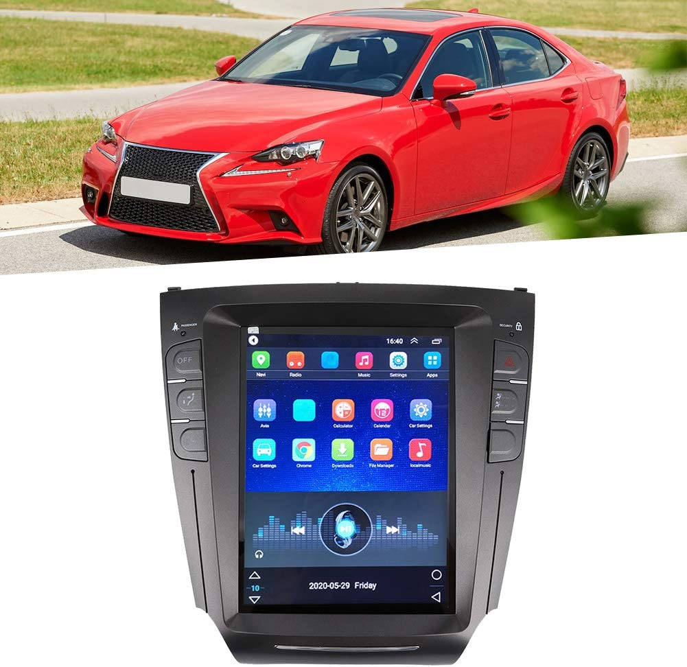 Yctze Car GPS 10.4in Car Radio Stereo GPS Navigation System Portrait Fit for Lexus IS200 IS250 IS300 IS350 2007 ‑2015 Black