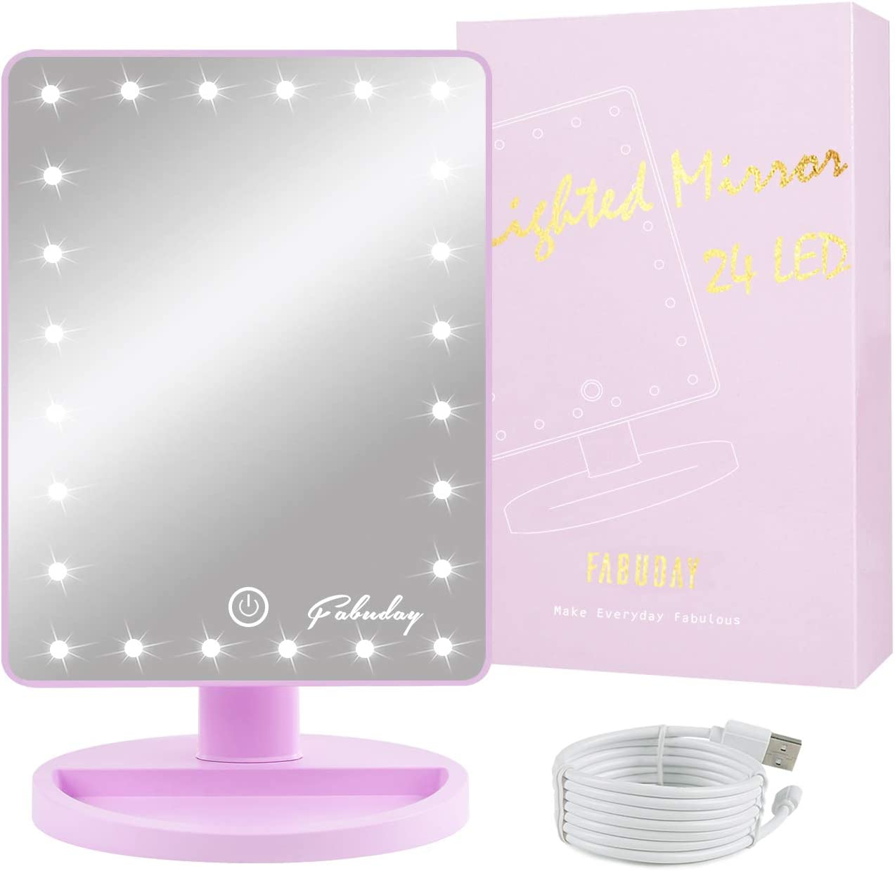Fabuday LED Lighted Makeup Mirror 24 Led Vanity Cosmetic Mirror, Touch Screen Light Adjustable Diammable Dual Power Supply, 180° Rotation, Color Boxed, Purple