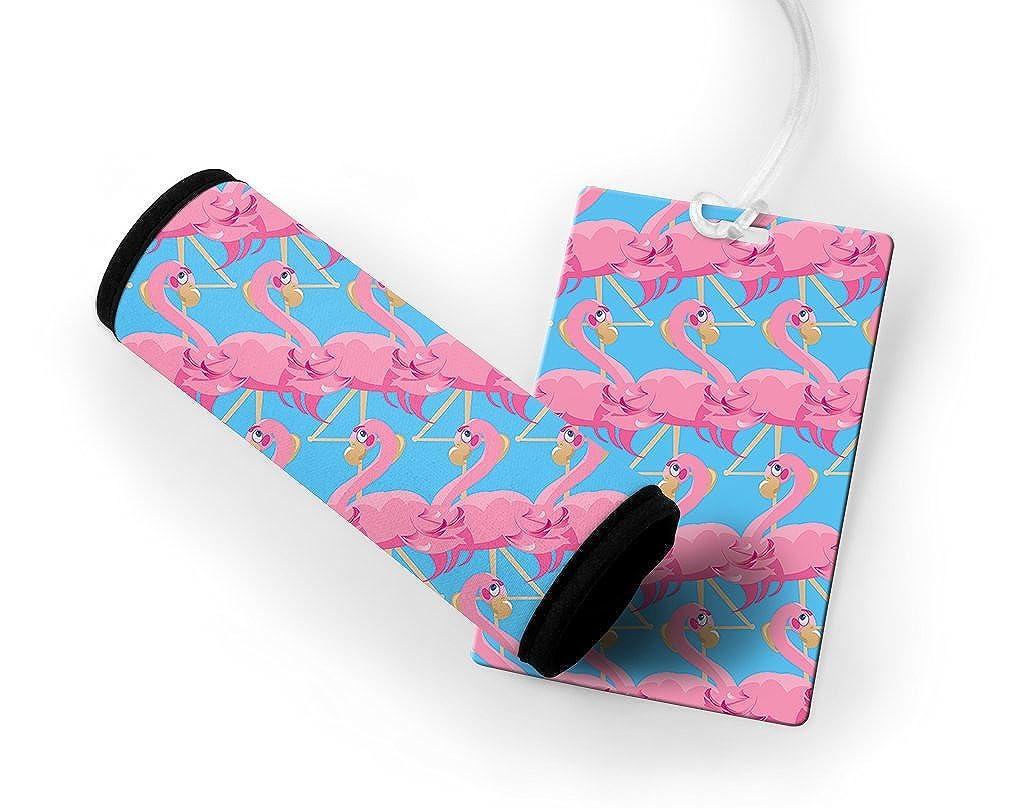 Pink Flamingo Luggage Tag & Luggage Finder Wrap Set TAGLUGANI244