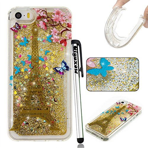 (iPhone SE Case, 5S Soft Quicksand Case, Qiyuxow Cute 3D Glitter Sparkle Liquid Floating Art Painting TPU Bumper Case for Apple iPhone SE iPhone 5 5S 5C (Spring Paris Tower))
