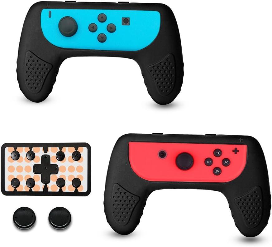 CHIN FAI Nintendo Control Joy-con Controles Grip Handles Kits, Paquete de 2 Joy-con Grips Mango para Nintendo Switch con 2 Tapas de Pulgar y Botones de Plástico Kit: Amazon.es: Electrónica