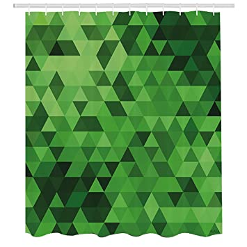 Hunter Green Shower CurtainDigital Triangles In Different Shades Of Mosaic Crystals Geometric Forms Print