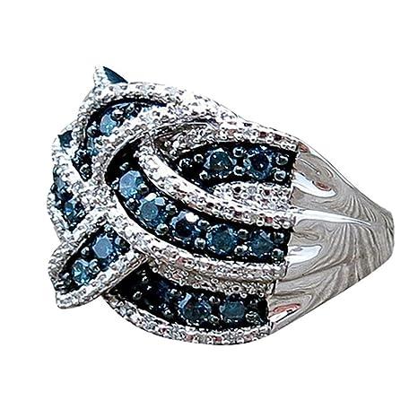 607e67fb5f31 Toamen Anillo Azul Zafiro Regalos Nupciales De Compromiso De Mujeres  JoyeríA (Tamaño  6