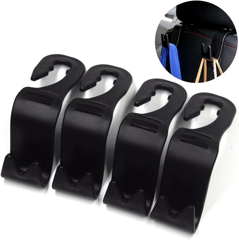 ZZM Universal Car Vehicle Back Seat Headrest Hanger Holder Hook for Bag Purse Cloth Grocery Black -Set of 2