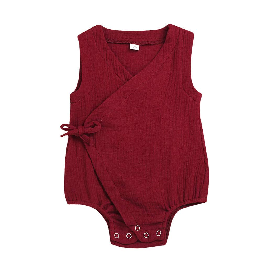 Makaor Infant Baby Girls Boys Sleeveless Solid Color Bowknot Cotton Linen Bodysuit Outfits with Headband Baby Romper