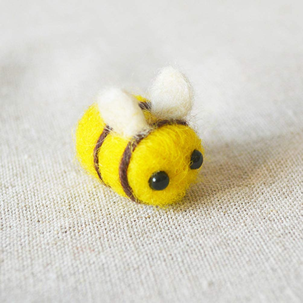 Milisten 12PCS Wool Felt Bee Craft Bumble Bee Balls Supplies for Baby Shower Gender Reveal Party Nursery Tent Decoration Decortaive Clothes Hair Accessories