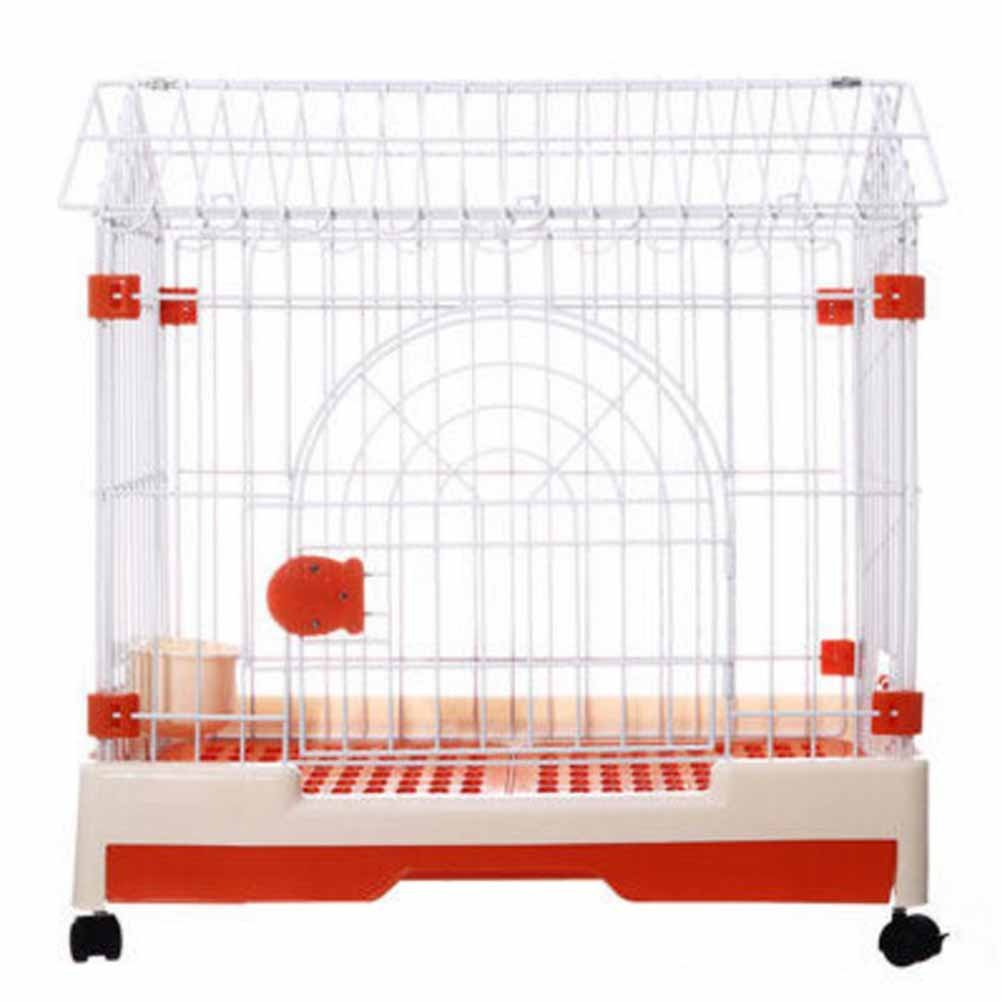 orange XCLLL Pet Fence Small And Medium Dogs With Toilet General Pet Cages, Spacious And Comfortable Durable Roller Skating Design,orange