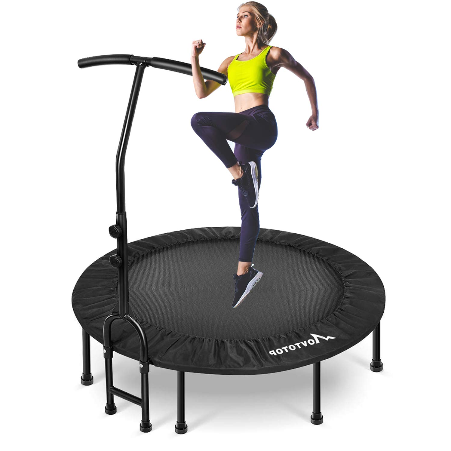 MOVTOTOP Indoor Trampoline, 48 Inch rebounder with Adjustable Handrail and Safety Pad, Fitness Trampoline for Kids Adults Max Load 220lbs