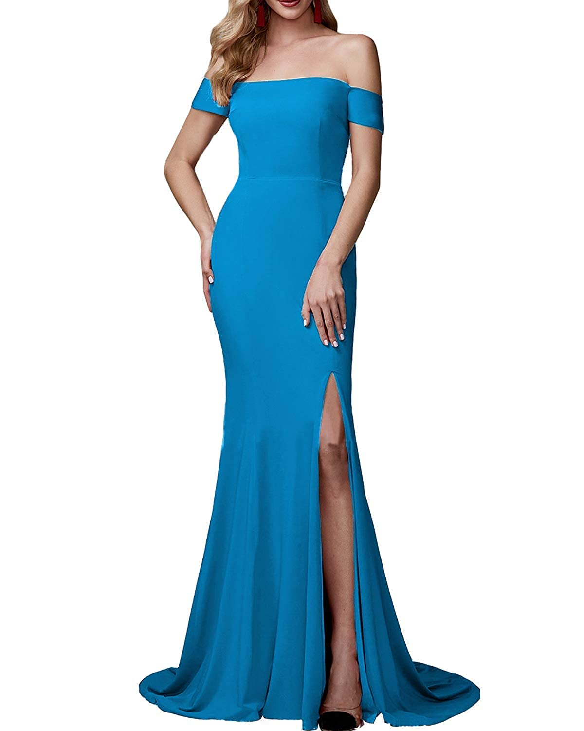 bluee Sulidi Women's Mermaid Off Shoulder Prom Dresses with High Slit Bridesmaid Evening Party Gowns C071