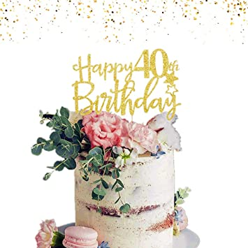 Astonishing Jevenis Gold Glitter Happy 40Th Birthday Cake Topper Hello 40 Cake Funny Birthday Cards Online Sheoxdamsfinfo