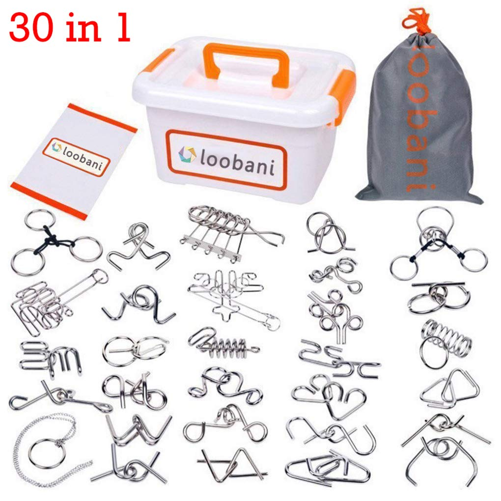 LOOBANI Assorted Brain Teasers Metal Wire IQ Puzzles with Plastic Box Package Great Educational Intelligence Toys for Adult Children and Student Expanding Mind 1 Set 30Pcs by LOOBANI