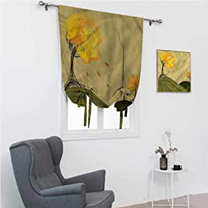 """Tie Up Curtains for Windows Forest Tie Up Shades for Windows Trees in a Natural Park Bech 30"""" Wide by 64"""" Long"""